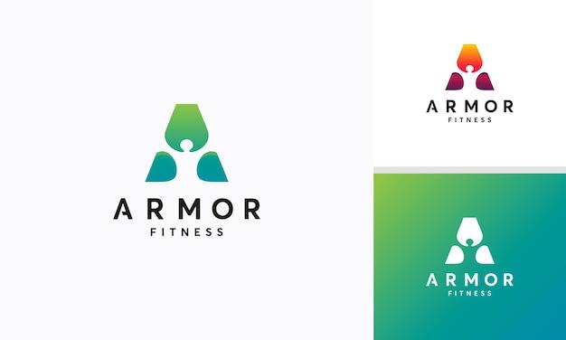 A-eerste concept voor gezond persoonslogo, armor-logo met persoon
