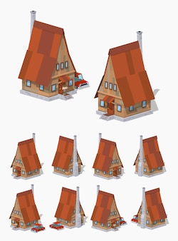 A-frame houten 3d lowpoly isometrisch huis