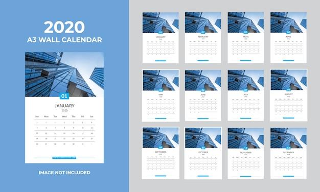 A3 wandkalender 2020-sjabloon
