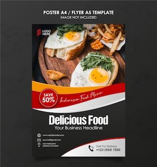 A4-flyersjabloon voor promotie van voedselverkoop