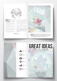 A4 sjablonen voor brochure met veelhoekige achtergronden