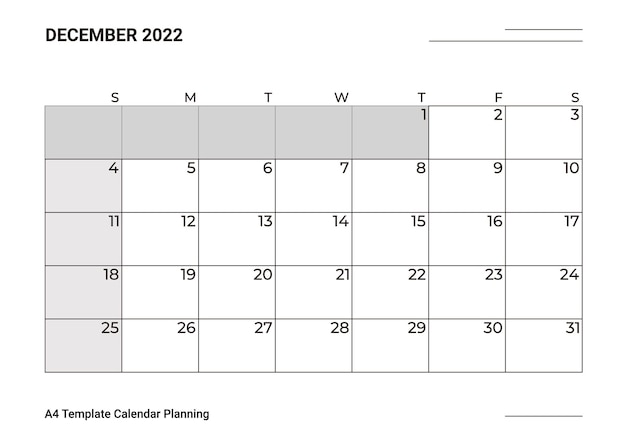 A4 sjabloon kalender planning december