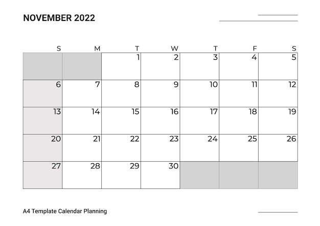 A4 sjabloon kalender planning november