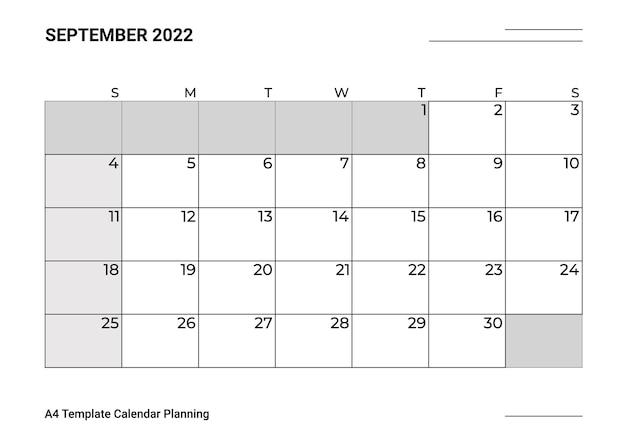 A4 sjabloon kalender planning september