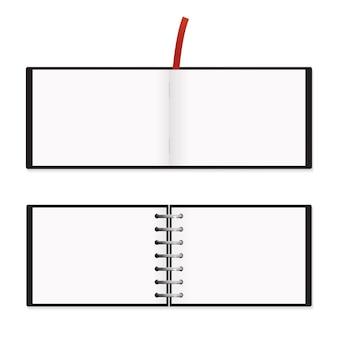 A5 horizontaal notitieblok mockup vector illustratie verspreid sjabloon