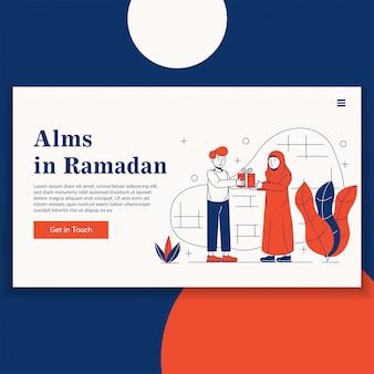 Aalmoes op de bestemmingspagina van de ramadan