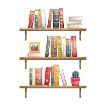 Aan de muur gemonteerde boekenplanken met boeken. boek stekels in retro stijl.