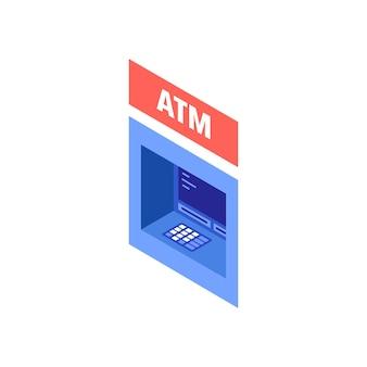 Aan de muur gemonteerde geldautomaat. isometrisch van aan de muur gemonteerde atm-vector