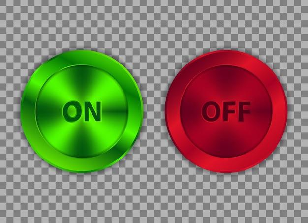 Aan en uit drukknop met groene en rode metallic vormen