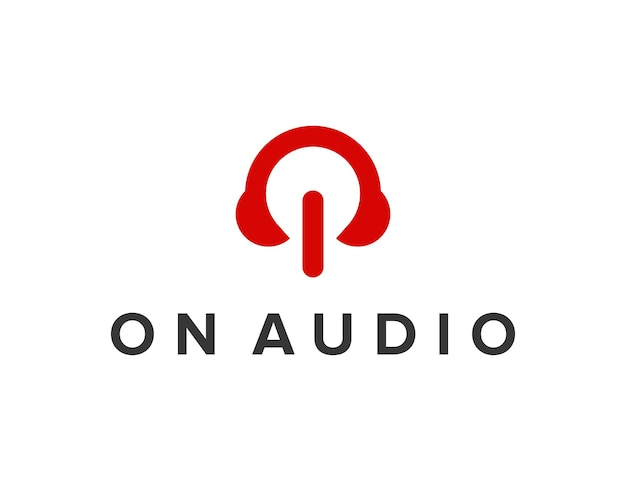 Aan / uit-knop met audio-hoofdtelefoon eenvoudig gestroomlijnd creatief geometrisch modern logo-ontwerp