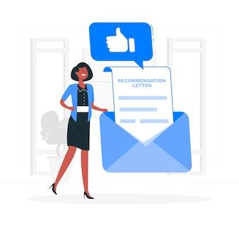 Aanbeveling brief concept illustratie