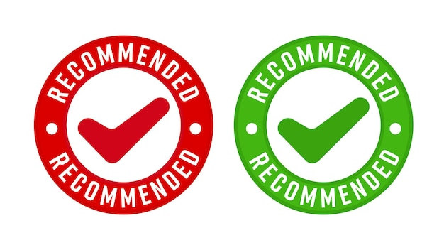 Aanbevolen stempel met ontwerpsjabloon voor vinkje. premium product kwaliteitsborging badge label vectorillustratie geïsoleerd op een witte achtergrond
