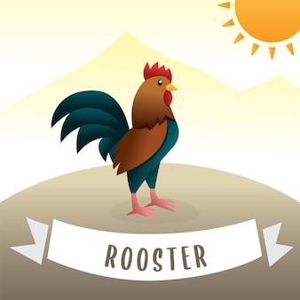Aanbiddelijk haanbeeldverhaal, vectorbeeldverhaal leuke kleurrijke kip. cartoon haan kraaien, leuke cartoon haan vector