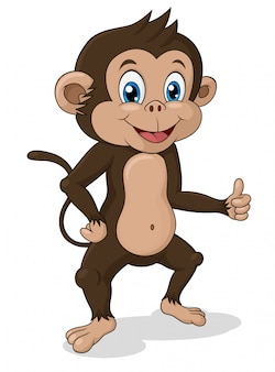 Aanbiddelijke bevindende aap met omhoog duim