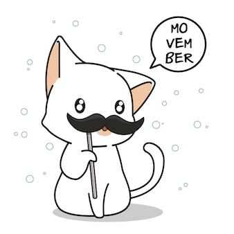 Aanbiddelijke kat in movember-dag