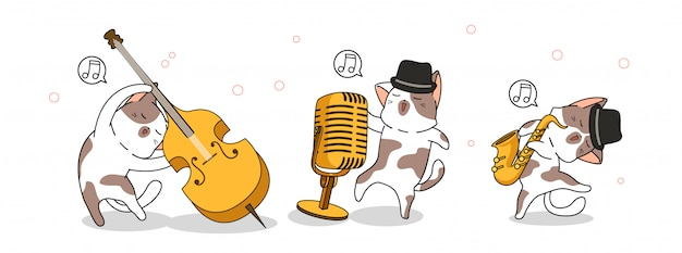 Aanbiddelijke katten in internationale jazzdag