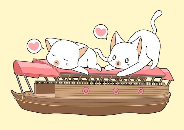 Aanbiddelijke katten op de boot