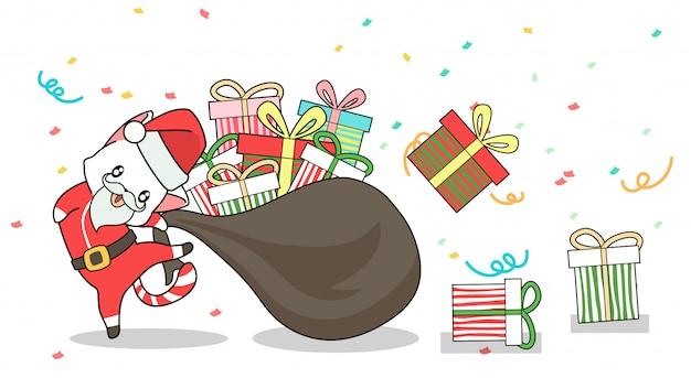Aanbiddelijke kerstmankat en giften in zak