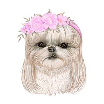 Aanbiddelijke leuke hond met haar en bloemkronenwaterverfillustratie