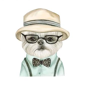 Aanbiddelijke leuke hond met hoed en glazenwaterverfillustratie