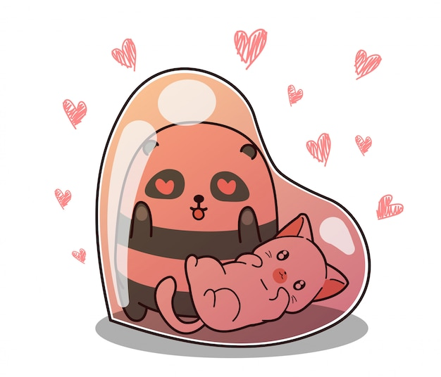 Aanbiddelijke panda en kat binnen hartballon op hart