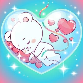 Aanbiddelijke teddybeerjongen binnen de buik van de mama