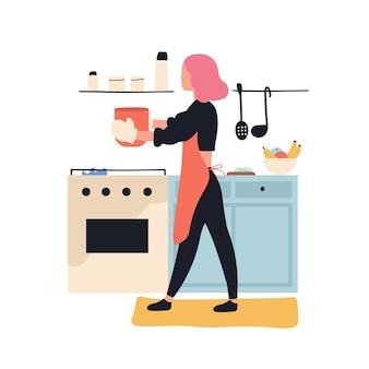 Aanbiddelijke vrouw die in keuken kookt. leuk jong meisje dat maaltijden thuis bereidt. vrouwelijke stripfiguur die lunch of diner maakt. tijdverdrijf of culinaire hobby. plat kleurrijke vectorillustratie.
