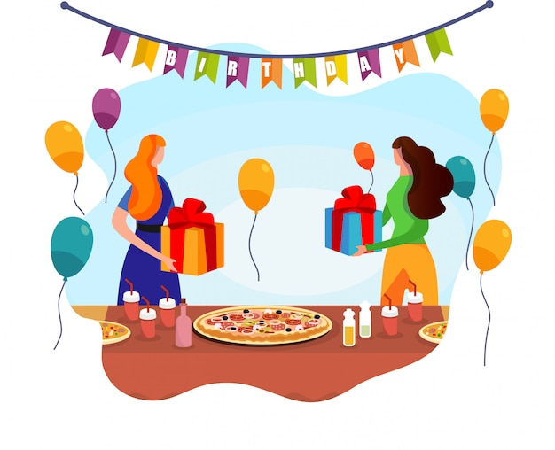 Aanbiddelijke vrouwen ruilen met geschenken in de buurt van feestelijke tafel.