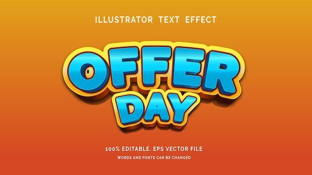 Aanbieding dag tekst effect stijl vector
