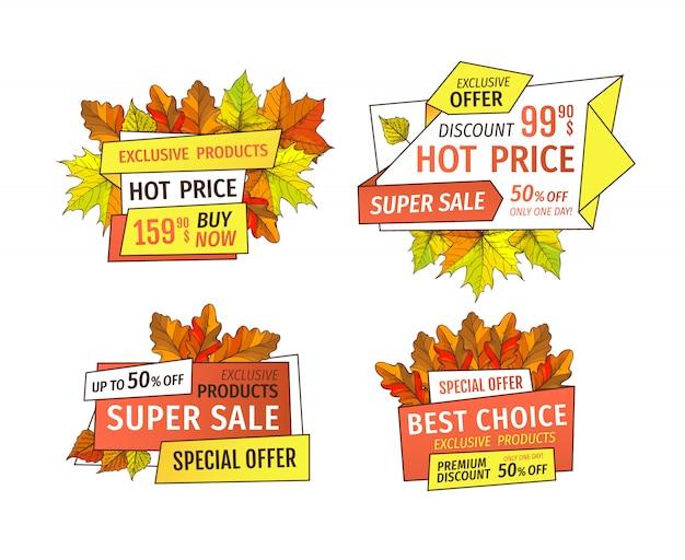 Aanbieding super kwaliteit speciale aanbieding 50 procent korting banner set