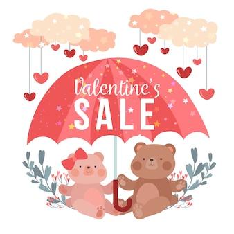 Aanbieding valentijnsdag verkoop plat ontwerp