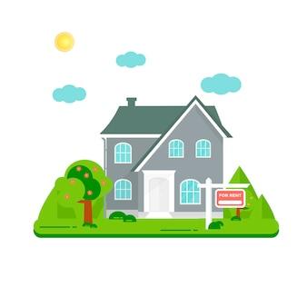 Aanbieding van huisaankoop. verhuur van onroerend goed. plat ontwerp, stedelijk.