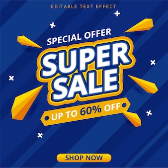 Aanbiedingssjabloon voor superverkoop blauwe banner