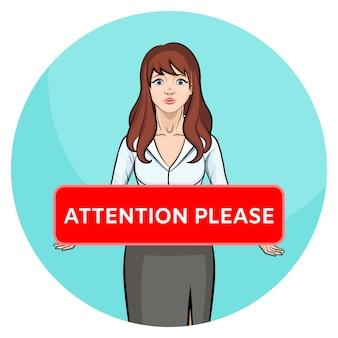 Aandacht aub. beeldverhaal donkerbruin meisje die in bureaukleren raad houden.