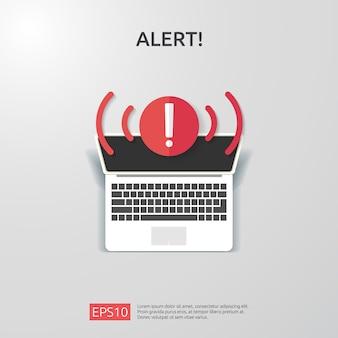 Aandacht waarschuwing aanvaller waarschuwingsbord met uitroepteken. pas op alertheid van internet gevaarsymbool. schildlijnpictogram voor vpn. technologie cyberbeveiliging concept. illustratie.