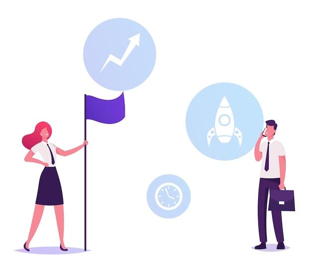 Aandeelhouder zakenvrouw in formele slijtage houden vlag, cartoon vlakke afbeelding