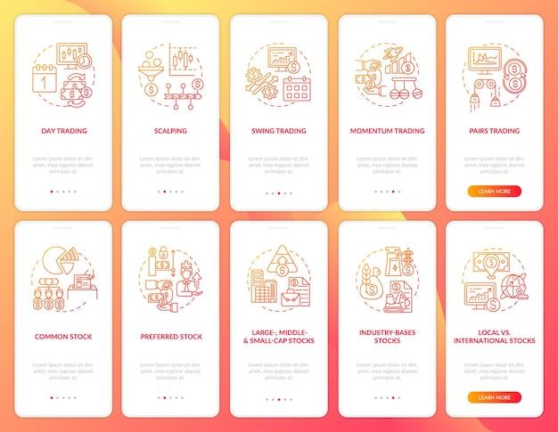 Aandelen investering onboarding mobiele app paginascherm met concepten set