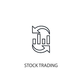 Aandelenhandel concept lijn pictogram. eenvoudige elementenillustratie. aandelenhandel concept schets symbool ontwerp. kan worden gebruikt voor web- en mobiele ui/ux