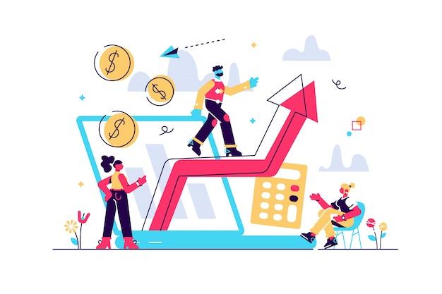 Aandelenhandel, inkomensgroei. roi, investeringen nemen toe. berekening van bedrijfswinsten. vraagplanning, vraaganalyse, digitaal verkoopprognoseconcept. geïsoleerde concept creatieve illustratie