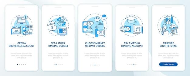 Aandelenhandel pad onboarding mobiele app pagina-scherm met concepten