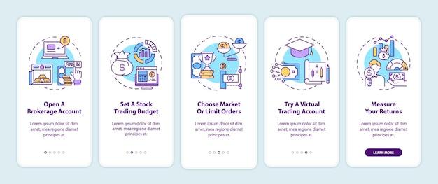 Aandelenhandelstappen voor het onboarding van het scherm van de mobiele app-pagina met concepten. account openen, budget doorlopen 5 stappen grafische instructies.