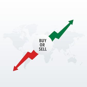 Aandelenmarkt beleggingsconcept ontwerp met kopen en verkopen pijlen