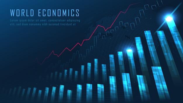 Aandelenmarkt of forex trading grafiek