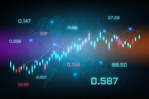 Aandelenmarkt trading grafiek voor onderzoek en investeringen met wereldkaart achtergrond. forex trading grafiek concepten, rapporten en investeringen op blauwe achtergrond. wereldwijde financiële zaken.
