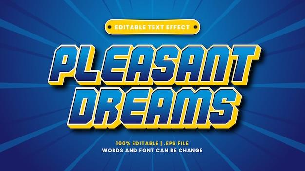 Aangename dromen bewerkbaar teksteffect in moderne 3d-stijl