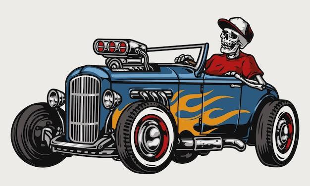 Aangepaste auto kleurrijke concept met skelet in baseball cap rijden hot rod met vlam sticker geïsoleerd