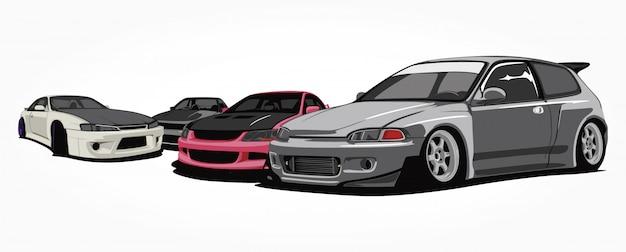 Aangepaste auto's illustratie