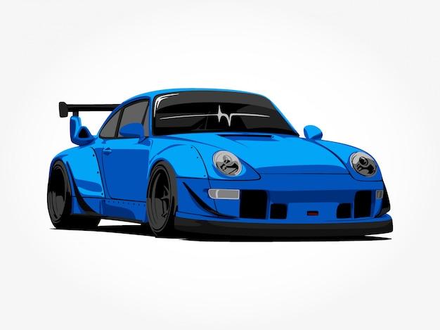 Aangepaste blauwe auto