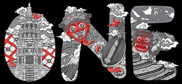 Aangepaste lettertype belettering doodle traditionele masker illustratie prambanan tempel indonesië