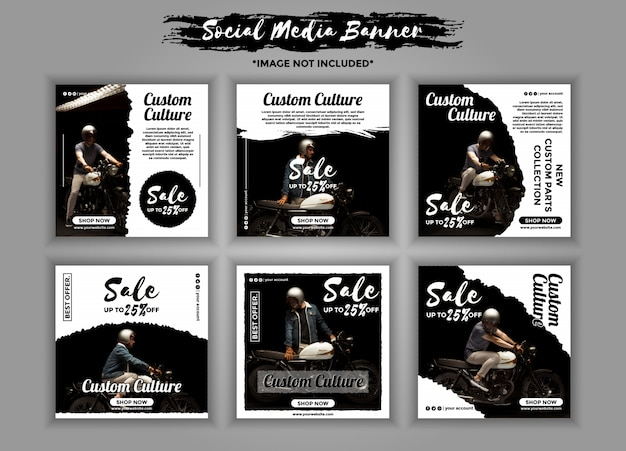 Aangepaste motorfiets sociale media banner sjabloon pack
